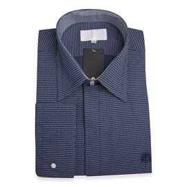 William Hunt Saville Row Forward Point Collar Dark Blue with White Shirt