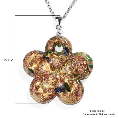 Green Murano Glass Flower Pendant with Chain (Size 24) in Rhodium Overlay Sterling Silver and Stainless Steel