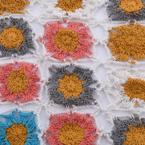 Limited Collection La Marey 100% Cotton Hand Crochet White, Mustard & Multi Colour Floral Scarf (144x27cm)