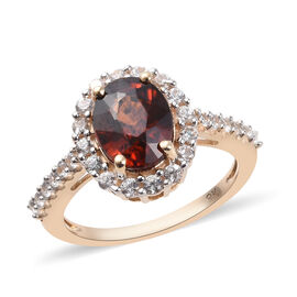 Collectors Edition- 9K Yellow Gold AAA Natural Red Zircon (Ovl 9x7 mm), Natural Cambodian Zircon Rin