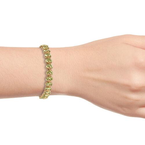 Hebei Peridot (Pear) Bracelet (Size 7.25) in 14K Gold Overlay Sterling Silver 13.000 Ct, Silver wt 12.10 Gms.