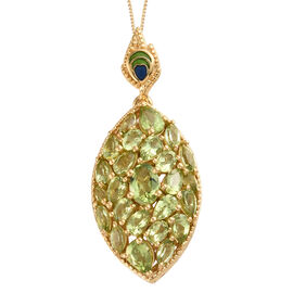 AA Hebei Peridot (Pear and Mrq) Cluster Pendant With Chain in 14k Gold Overlay Sterling Silver 6.000 Ct, Silver wt 7.11 Gms.