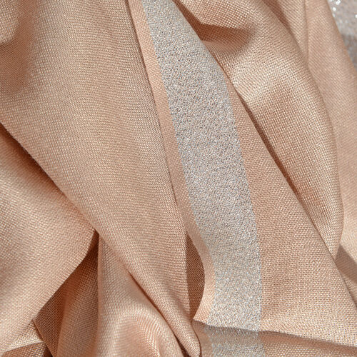Beige Colour Scarf with Lurex Border (Size 200x70 Cm)