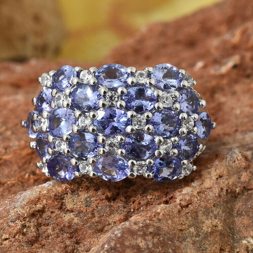 AA Tanzanite (Ovl), Natural Cambodian Zircon Cluster Ring in Platinum Overlay Sterling Silver 3.500 Ct., Silver wt 5.13 Gms.