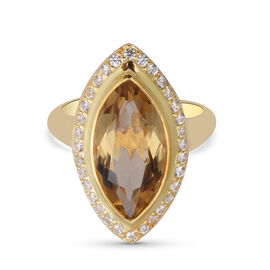 Citrine and Natural Cambodian Zircon Ring in Yellow Gold Overlay Sterling Silver 5.02 Ct.