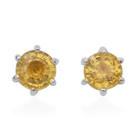 Chanthaburi Yellow Sapphire (Rnd) Earrings (with Push Back) in Yellow Gold Overlay Sterling Silver 2