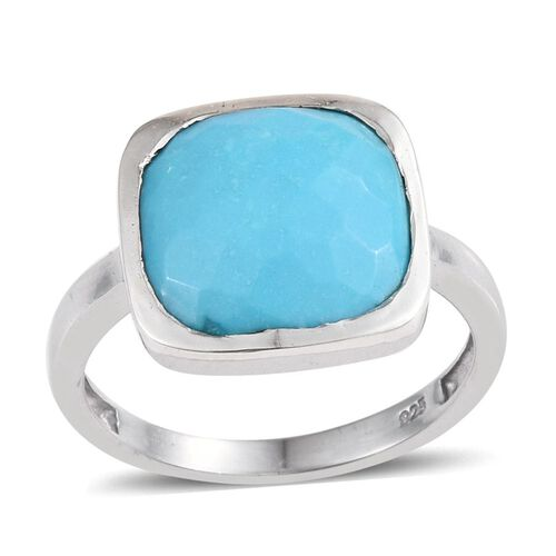 Arizona Sleeping Beauty Turquoise (Cush) Solitaire Ring in Platinum Overlay Sterling Silver 5.250 Ct