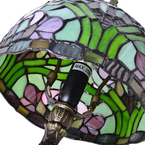 Luxury Edition -  Hand Made -Tiffany Style Table Lamp with Stained Glass Mosaic Shade with Daffodil Flower Design (Size 20 cm diameter x 35 cm H)