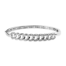 Diamond (Bgt) Curb Link Bangle (Size 7.5) in Platinum Overlay Sterling Silver 1.00 Ct, Silver wt 18.