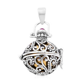 Royal Bali Collection - African Ruby Harmony Ball Pendant in Yellow Gold Overlay Sterling Silver, Si
