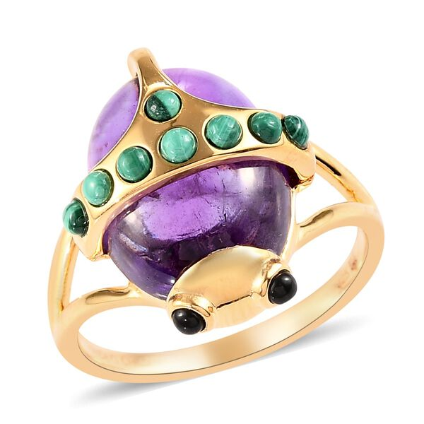 African Amethyst (13.00 Ct),Malachite,Thai Black Spinel 14K Gold Overlay Sterling Silver Ring