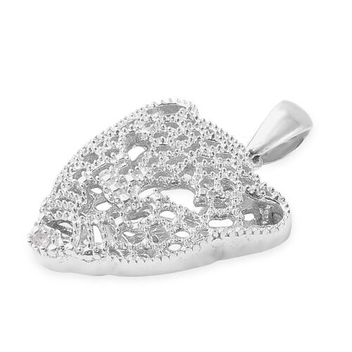 Diamond (Rnd) Leopard Pendant  in Rhodium Overlay Sterling Silver