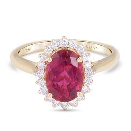ILIANA 18K Yellow Gold AAAA Rubellite and Diamond (G-H/S-I) Ring 2.60 Ct.