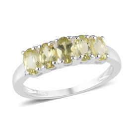 Natural Chrysoberyl (Ovl) Five Stone Ring (Size M) in Sterling Silver 1.25 Ct.