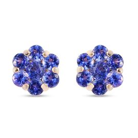 9K Yellow Gold Tanzanite Flower Earrings (with Push Back)