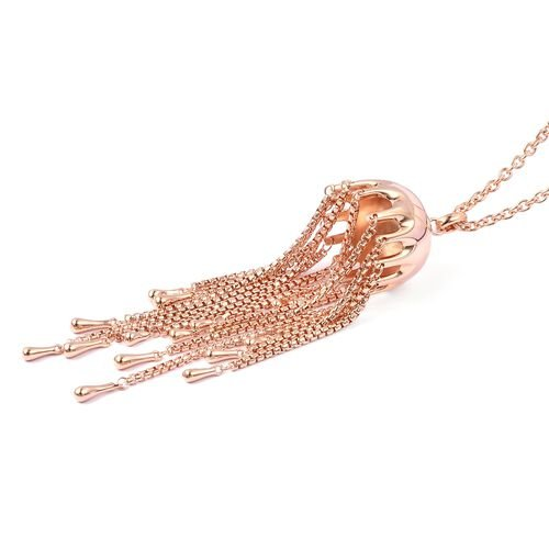 LucyQ Rose Gold Overlay Sterling Silver Multi Drip Pendant with Chain (Size 36) 49.92 Gms.