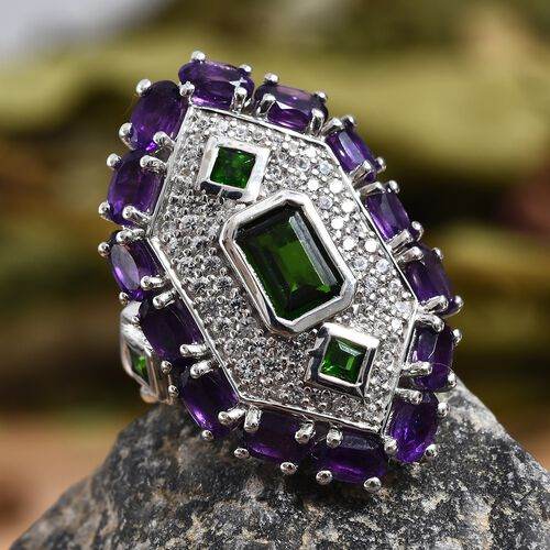 GP Russian Diopside (Oct and Sqr), Amethyst, Natural Cambodian Zircon and Blue Sapphire Ring in Platinum Overlay Sterling Silver 5.00 Ct, Silver wt 6.83 Gms