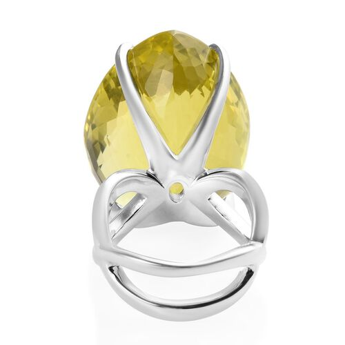 Tucson Special - AAA Natural Ouro Verde Quartz (Pear) Solitaire Ring in Platinum Overlay Sterling Silver 77.25 Ct, Silver wt 10.91 Gms