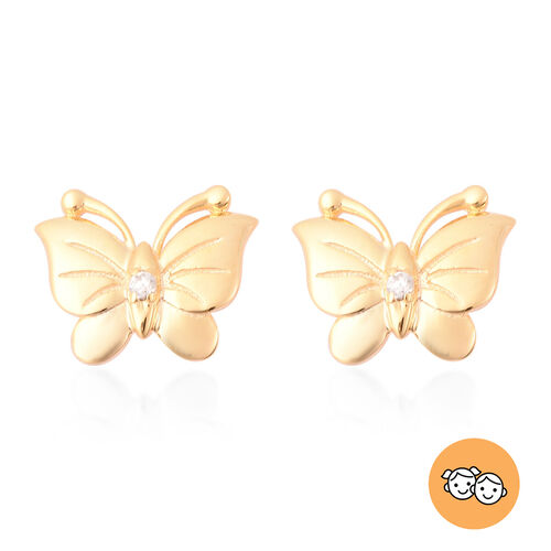 RACHEL GALLEY - Natural Cambodian Zircon Butterfly Earrings (with Push Back) in Yellow Gold Overlay