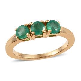 One Time Deal- Santa Terezinha Premium Emerald (Rnd) Trilogy Ring (Size M) in 14K Gold Overlay Sterling Silve