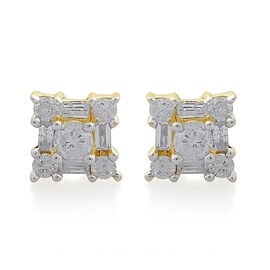 9K Yellow Gold 0.50 Carat Diamond Stud Earrings (with Push Back) SGL Certified (I3/G-H)