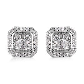9K W Gold SGL Certified Diamond (I3/G-H) Stud Earrings (with Push Back)