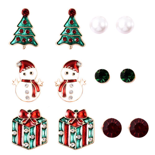Stocking Filler- Set of 6 - Simulated Pearl, Green, Red and White Austrian Crystal Christmas Theme E