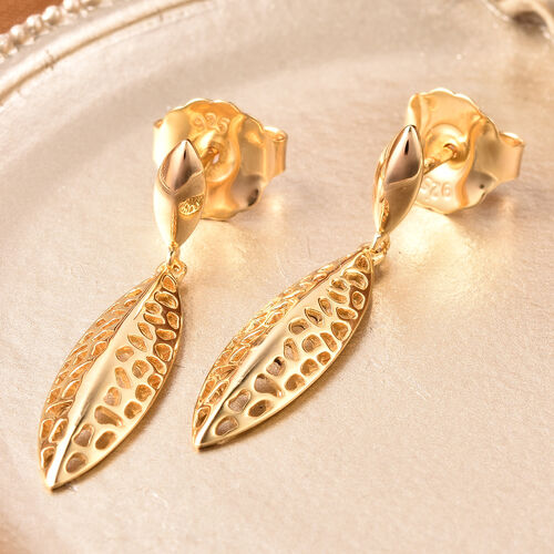 RACHEL GALLEY Leaf Collection - Yellow Gold Overlay Sterling Silver Leaf Drop Earrings (with Push Back)