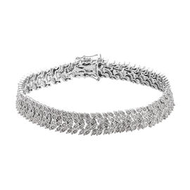 1.90 Ct Diamond Bracelet in Platinum Plated Silver 18.70 Grams 7.5 Inch