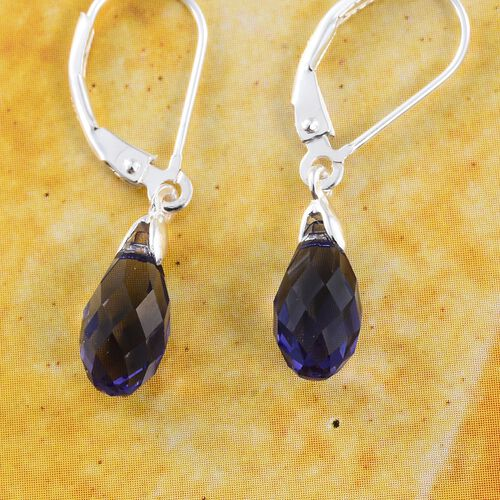 J Francis Crystal from Swarovski - Tanzanite Colour Crystal Drop Lever Back Earrings in Sterling Silver