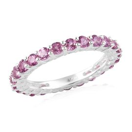 2 Carat Lotus Garnet Eternity Band Ring in Sterling Silver