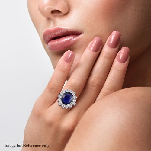 Masoala Sapphire and Natural Cambodian Zircon Halo Ring in Platinum Over Sterling Silver 9.50 Ct.