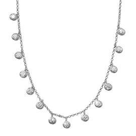 J Francis Platinum Overlay Sterling Silver Necklace (Size 18) Made with SWAROVSKI ZIRCONIA 11.85 Ct,