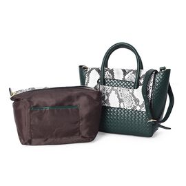 100% Genuine Leather Snake Pattern Woven Tote Bag  (Size 26x10x27 Cm) - Green and White