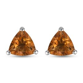 Citrine Solitaire Stud Push Post Earring in Platinum Overlay Sterling Silver 1.15 ct  1.150  Ct.