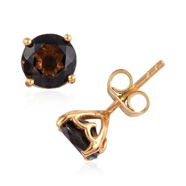 Brazilian Smoky Quartz (Rnd) Stud Earrings (with Push Back) in 14K Gold Overlay Sterling Silver 2.50