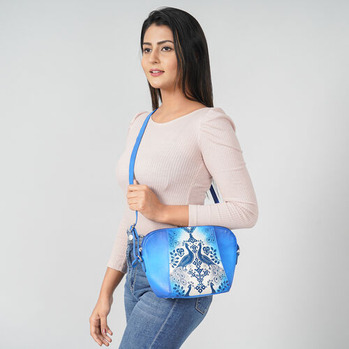 SUKRITI 100% Genuine Leather Peacock Hand Painted Crossbody Bag (28x9x20cm) with Adjustable Shoulder Strap - Royal Blue