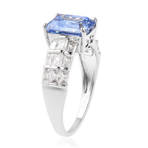 J Francis - Rhodium Overlay Sterling Silver Ring Made with BLUE AND WHITE SWAROVSKI ZIRCONIA