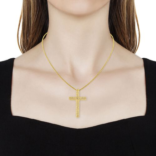 RACHEL GALLEY Yellow Gold Overlay Sterling Silver Cross Pendant With Chain (Size 30), Silver wt 14.09 Gms.