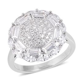 Simulated Diamond Floral Cluster Ring in Silver Tone