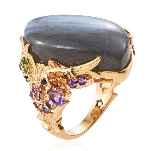 GP Labradorite, Amethyst, Madeira Citrine, Rhodolite Garnet, Russian Diopside and Multi Gem Stone Ring in 14K Gold Overlay Sterling Silver 37.210 Ct. Silver wt 7.10 Gms.