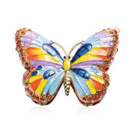 Multi Austrian Crystal Studded Enamelled Butterfly Trinket Box