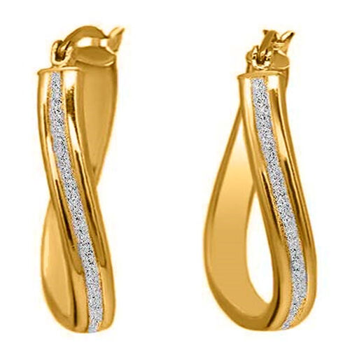 Yellow Gold Overlay Sterling Silver Curvy Hoop Earrings (with Clasp)