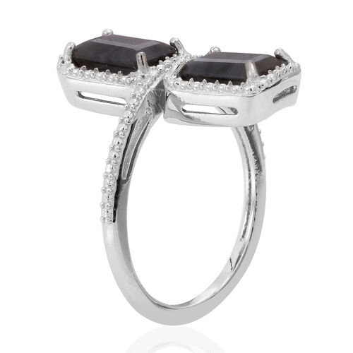 Natural Silver Sapphire (Oct) Ring in Rhodium Plated Sterling Silver 4.500 Ct.