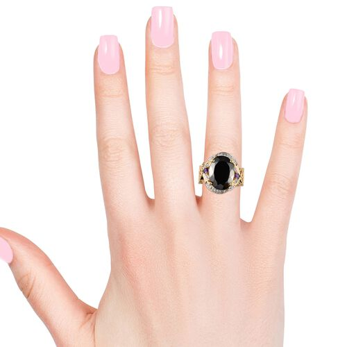 Elite Shungite (Ovl 16x12 mm), Amethyst, Swiss Blue Topaz and Natural Cambodian Zircon Ring in 14K Gold Overlay Sterling Silver 6.50 Ct, Silver wt 6.30 Gms