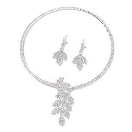 Set of 2 - White Austrian Crystal (Rnd) Choker Leaf Necklace (Size 18) and  Earrings in Silver Tone