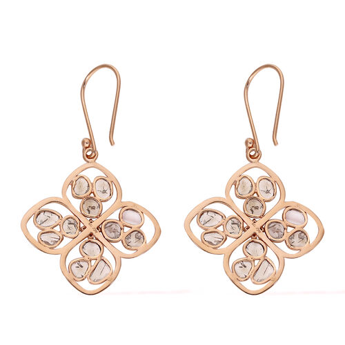 Polki Diamond, Champagne Diamond Earring in Platinum Overlay Sterling Silver 2.00 ct,  Sliver Wt. 6 Gms  2.000  Ct.