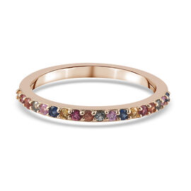 9K Yellow Gold   Multi Sapphire  Band Ring in Rhodium Overlay 0.34 ct,  Gold Wt. 1.58 Gms  0.342  Ct.