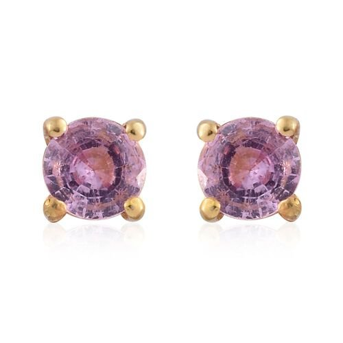 Pink Sapphire 0.75 Ct Silver Solitaire Stud Earrings in Gold Overlay (with Push Back)