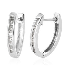 Diamond (Bgt) Hoop Earrings (with Clasp Lock) in Platinum Overlay Sterling Silver